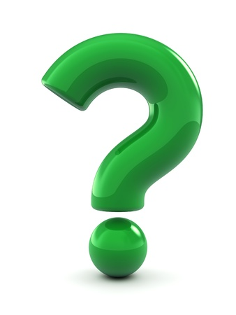 punto di domanda: Verde punto interrogativo, isolato su bianco