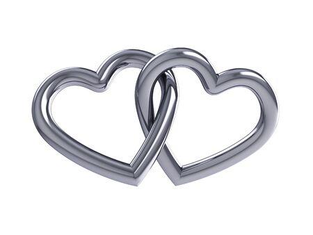 anniversario matrimonio: Coppia di intersezione cuori d'argento, isolato su bianco Archivio Fotografico