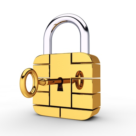 Credit card security chip as padlock , safe banking photo