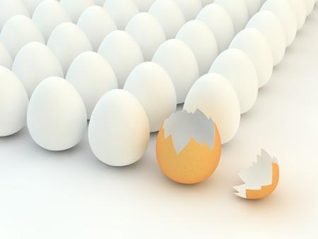 cracked egg: Broken eggshell,multiple white eggs Stock Photo