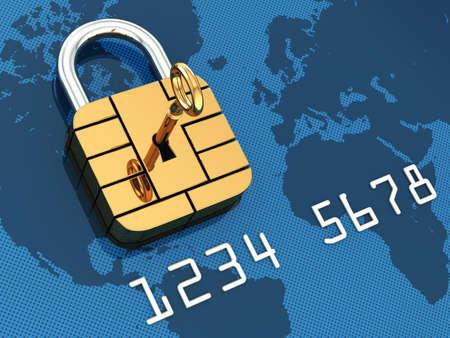 Credit card security chip as padlock , safe banking