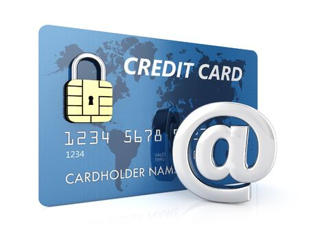 arobas: Credit card and arobase sign on white background