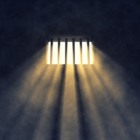 confinement: Prison cell interior , sunrays coming through a barred window