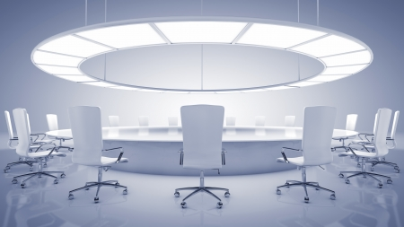 Boardroom meeting: Modern round conference room Stock Photo