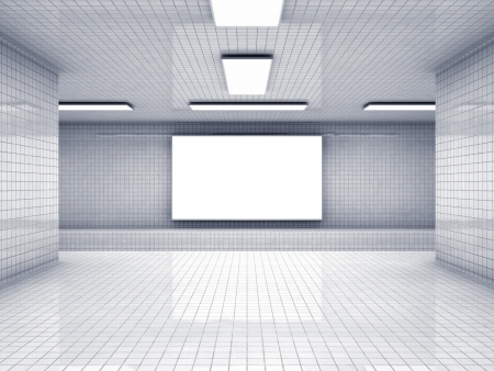 subway station: Empty subway station and blank display