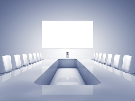 teleconferencing: Modern teleconferencing room , high resolution telepresence interior