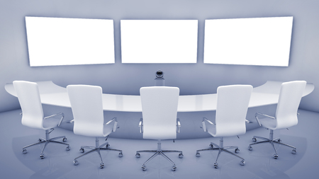 Modern teleconferencing room , high resolution telepresence interior photo