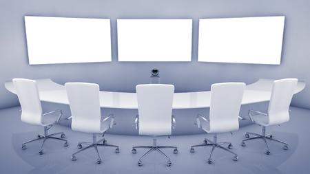 Salle de téléconférence moderne, l'intérieur de téléprésence haute résolution Banque d'images