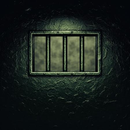 porte de la cellule de la prison, fenêtre à barreaux, éclairage dramatique Banque d'images