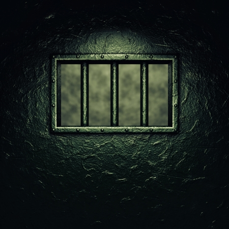confinement: Prison cell door,barred window ,dramatic lighting