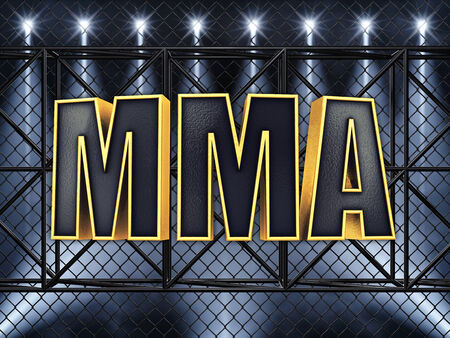 cage: MMA text and sport stage lighting