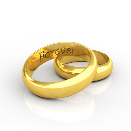 vow: Engraved golden wedding rings on white background with reflection , Forever
