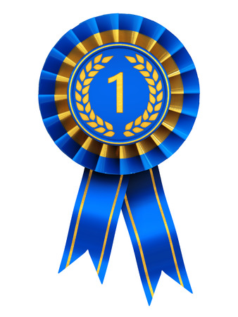 award ribbon rosette: First place , blue and gold rosette , isolated on white