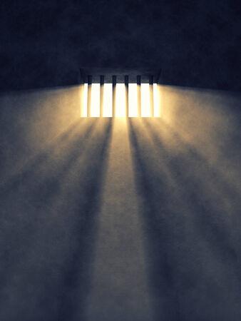 Gefängniszelle Innenraum, Sonnenstrahlen durch ein vergittertes Fenster kommen