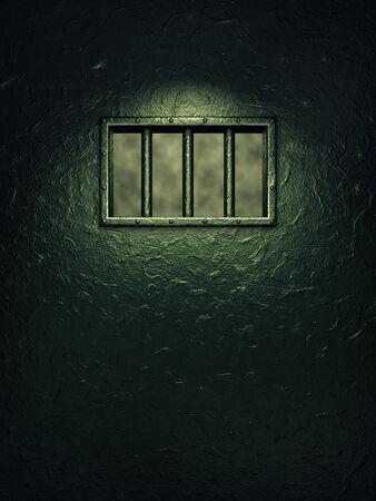 lockup: Prison cell door,barred window ,dramatic lighting