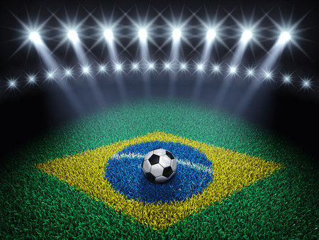 arène de soccer et la balle avec des projecteurs, un terrain de football avec le drapeau brésilien