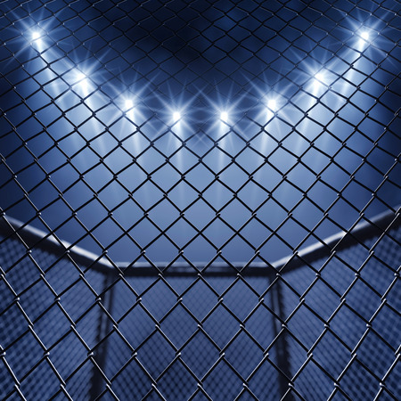 martial art: MMA cage and floodlights Stock Photo