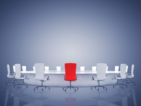 chairman: Modern oval conference room with copyspace