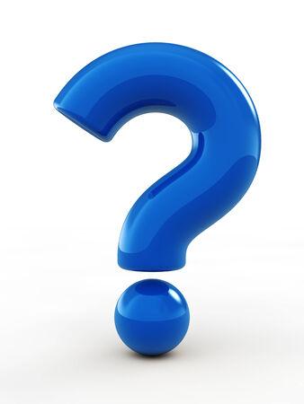 signo de interrogacion: Signo de interrogación azul, aislado en blanco Foto de archivo