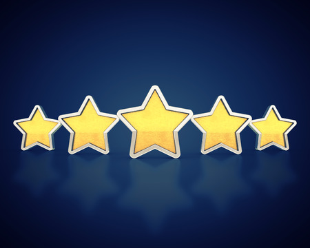 Golden rating stars on dark background , Product quality photo