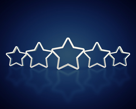 Silver outlined rating stars on dark background , Product quality photo