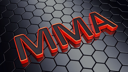 mixed martial arts: MMA text on dark hexagonal background , Mixed martial arts event