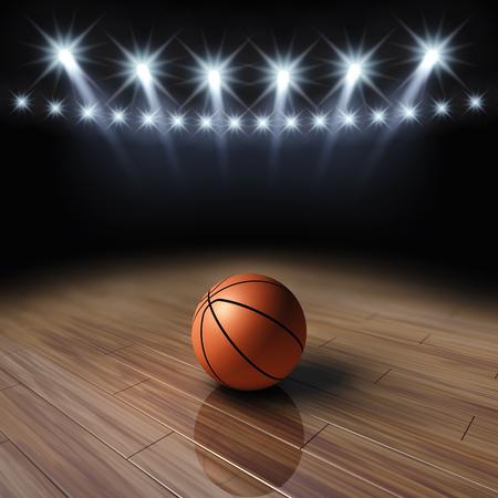 cancha de basquetbol: Bola en la cancha de baloncesto con focos Foto de archivo