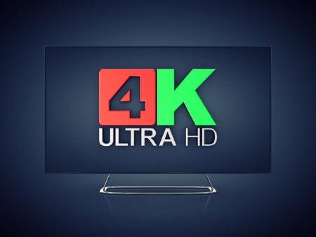 high detail: 4K Ultra HD screen tv on dark background , Ultra High Definition display Stock Photo