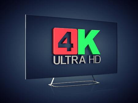 ultra: 4K Ultra HD screen tv on dark background , Ultra High Definition display Stock Photo