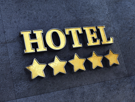 concierge: Golden 5 star Hotel sign on a wall Stock Photo