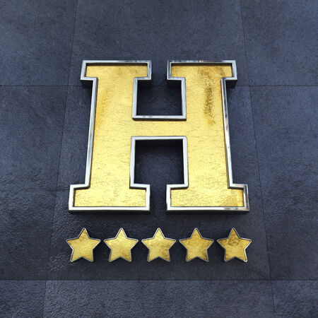 concierge: Golden 5 star Hotel sign on a wall , Luxury Hotel Stock Photo