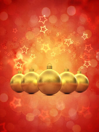 festivities: Golden christmas baubles on red background