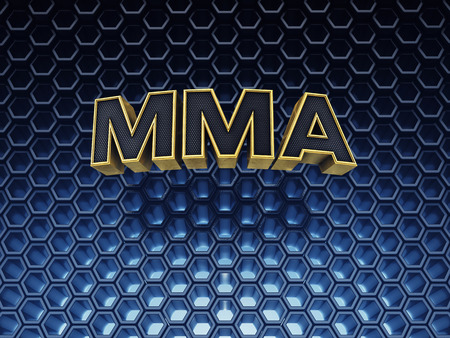 mma: MMA text on blue abstract background with copyspace Stock Photo