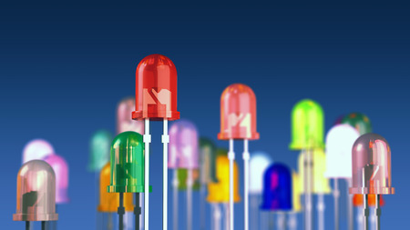Multi-color light emitting diodes on blue background photo