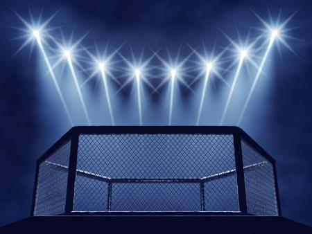 combate: MMA jaula y proyectores Foto de archivo