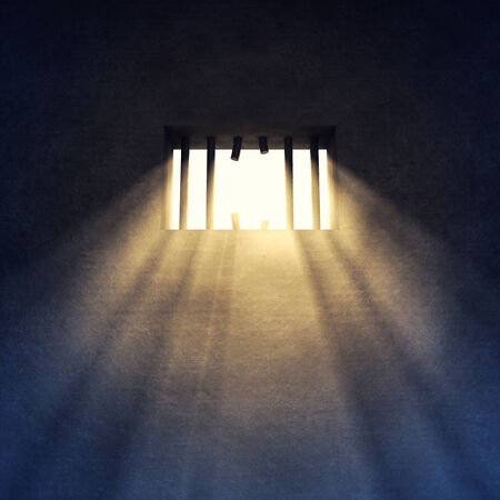 Prison cell interior , sunrays coming through a barred window , Prison escape photo