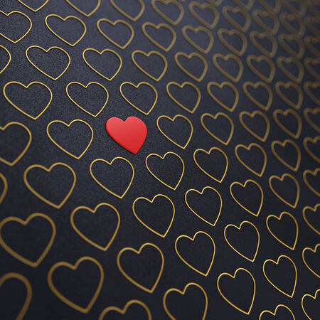 jealousy: Red and golden hearts on dark background , Valentines day