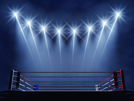 boxing match: Boxing ring and floodlights