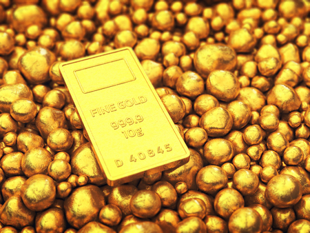 gold mine: Gold bar and pellets