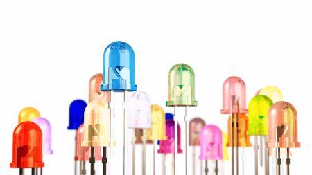 light emitting diode: Multi-color light emitting diodes on white background