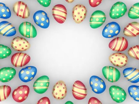positioned: Decorated easter eggs on white background positioned as a frame , copyspace Stock Photo