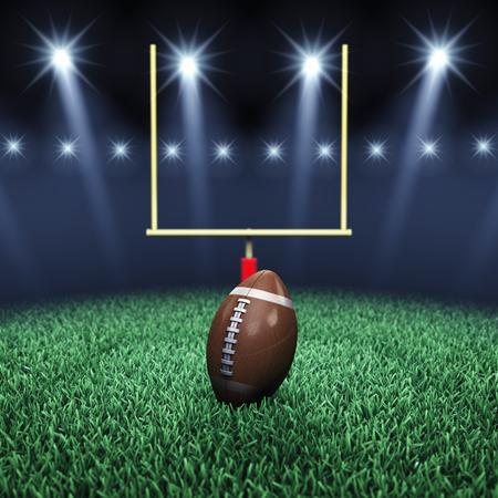 pelota rugby: Campo verde de fútbol, ??bola, poste de la meta y los reflectores, arena Deporte
