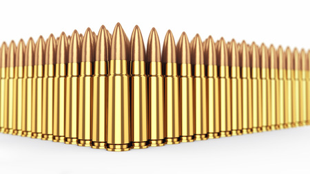ammunition: Cartridges on white background , Ammunition