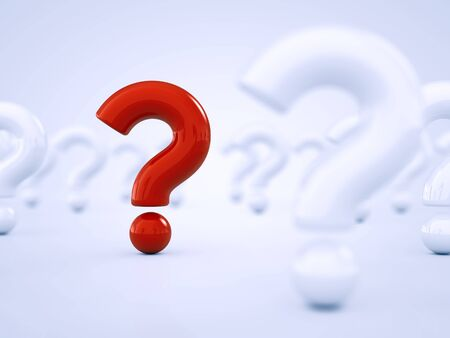 standing out: Red question mark standing out amid white question marks Stock Photo