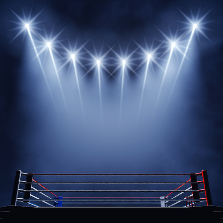 fight arena: Boxing ring and floodlights  Boxing event