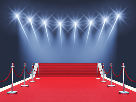 Red carpet event with spotlights Award ceremonyPremiere