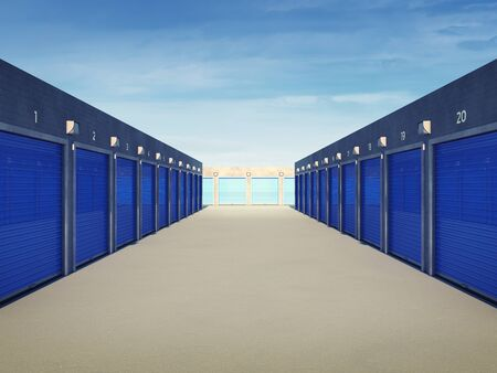 storage unit: Outdoors storage units , Self storage facility Stock Photo