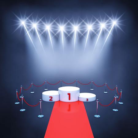 spotlight: Sport competition event podium , red carpet and spotlights , Winners podium , Award ceremony