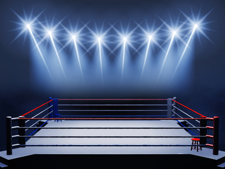Boxing ring and floodlights , Boxing event , Boxing arena