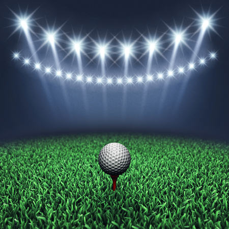 entertainment event: Golf ball on grass and spotlights , Golf tournament , Golf course Stock Photo